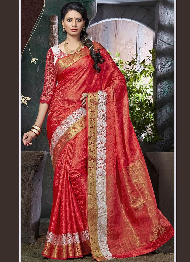 Buy Red Art Silk Saree online from the wide collection of sari.  This Red colored sari in Art Silk fabric goes well with any occasion. Shop online Designer sari from cbazaar at the lowest price.