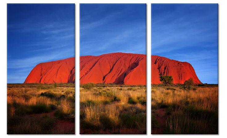 Foto Schilderij Ayers Rock Australië op canvas (drieluik)