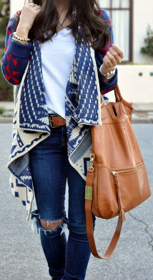 over sized tribal print cardigan, white tee, ripped skinny jeans and matching brown purse and belt