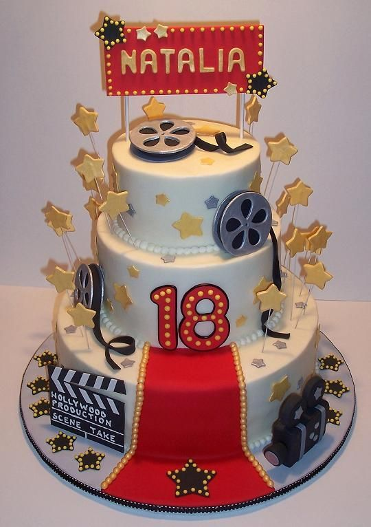 Hollywood Birthday Cake - Three tiers of pound cake with buttercream icing.  All the decorations are fondant and gum paste.  This cake was the biggest one Ive ever done - 12 base, 8 middle and 6 top tier.  And the Oscar goes to...