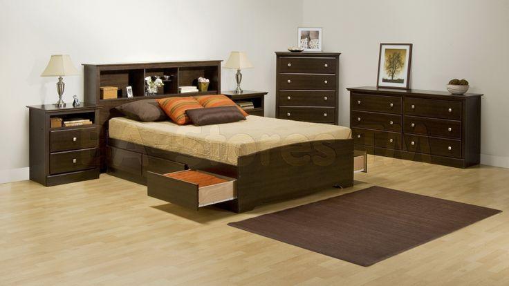 Prepac Fremont 4 PC Queen Bedroom Set with Tall Nightstands in Espresso (Bed, Two Nightstands and Dresser)