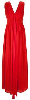 Elegantes Abendkleid in Rot von Sonja Kiefer. Das bodenlange Kleid aus feinster Seide hat breite Träger, einen V-Ausschnitt und kann an der Seite mit einem Reißverschluss geschlossen werden. Das Kleid im Epire-Stil hat ein Taillenband, raffinerte Falten am Ausschnitt und hat einen locker fallenden Rock. Für den ganz großen Auftritt!