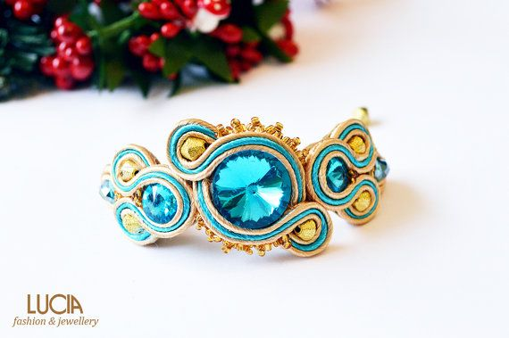 Blue and beige soutache bracelet by LuciaProducts on Etsy