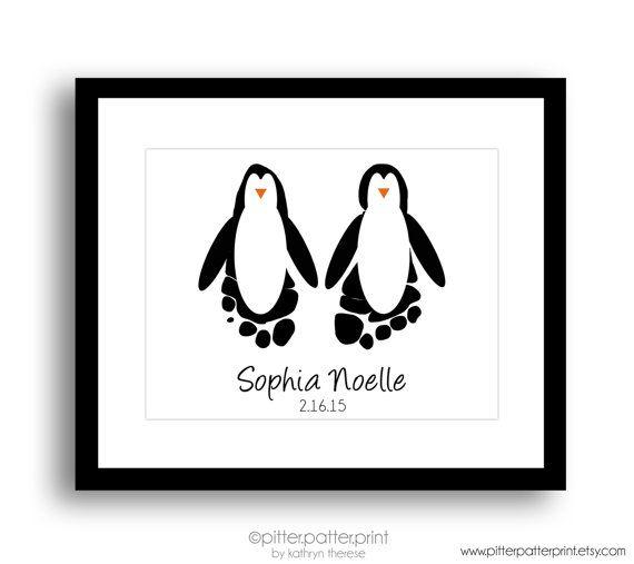 Penguin Nursery Art, Baby Footprint Art Print, Gender Neutral Black & White Nursery Art, Sea Animal Nursery, Artic Nursery, Personalized