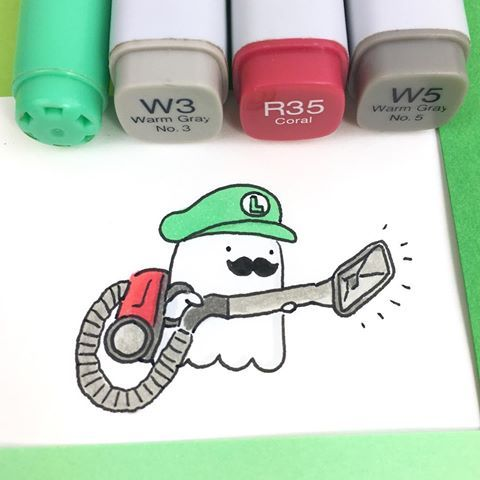 Spooky came up with a great costume idea, to scare his family at their annually Halloween Party at the McCute Mansion  #luigi #luigicosplay #luigismansion #spookymccute #spoopy #spooky #doodle #inktober #inktober2016 #copicmarkers #kawaii #かわいい #可愛い