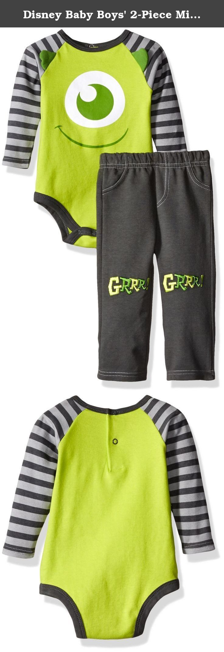 Disney Baby Boys' 2-Piece Mike from Monsters Inc. Pant Set with 3d Knee Patches, Green, 24 Months. 2 piece mike from monsters Inc. top with 3D ear applique and pant with knee appliques.