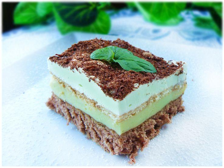 Miętusek - czekoladowe ciasto z miętowo - budyniowym kremem - medium