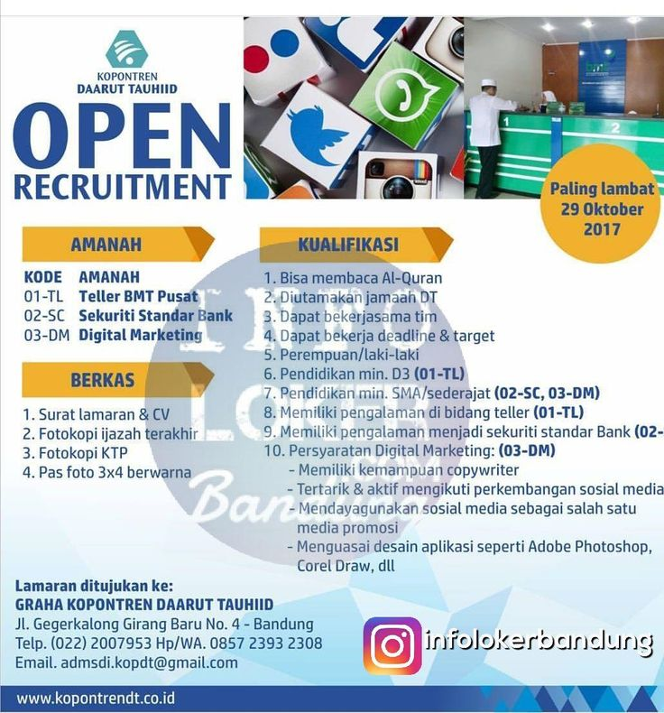 Lowongan Kerja Kopontren Daarut Taufhid Bandung Oktober 2017