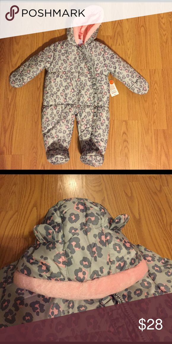 Infant Snow Suit Adorable Just One You by Carter's pink and gray leopard print snow suit with pink faux fur in hood Just One You by Carter's Other