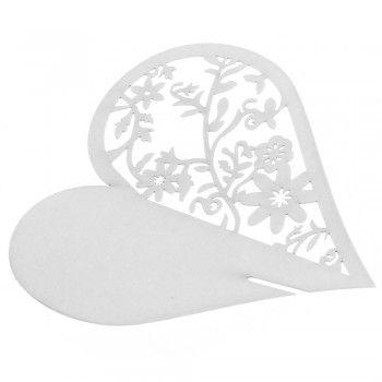 [€ 6.71] 50pz Segnaposto Forma Cuore Semi-Traforato in Carta Bianca per Decorazione Festa