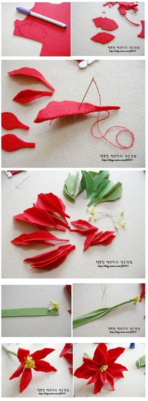 Como hacer flor de noche buena con fieltro paso a paso01