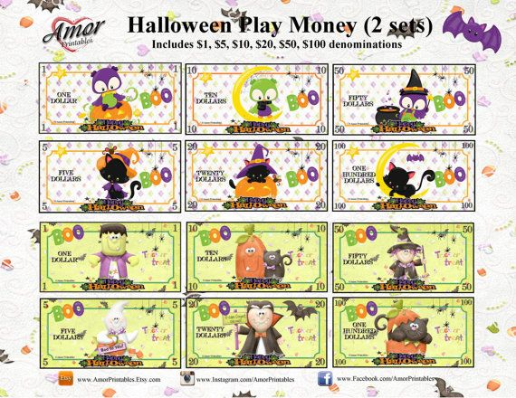 halloween play money 2 sets plus bonus coloring booklet 12 pages coloring money and play. Black Bedroom Furniture Sets. Home Design Ideas