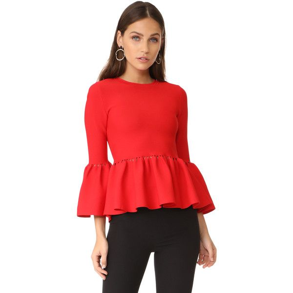 Jonathan Simkhai Slashed Knit Top (€315) ❤ liked on Polyvore featuring tops, red, flare top, peplum tops, cut out long sleeve top, long sleeve tops and pleated top