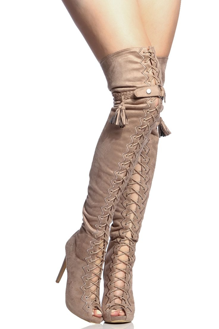 Taupe Faux Suede Lace Up Open Toe Thigh High Boots @ Cicihot Boots Catalog:women's winter boots,leather thigh high boots,black platform knee high boots,over the knee boots,Go Go boots,cowgirl boots,gladiator boots,womens dress boots,skirt boots.