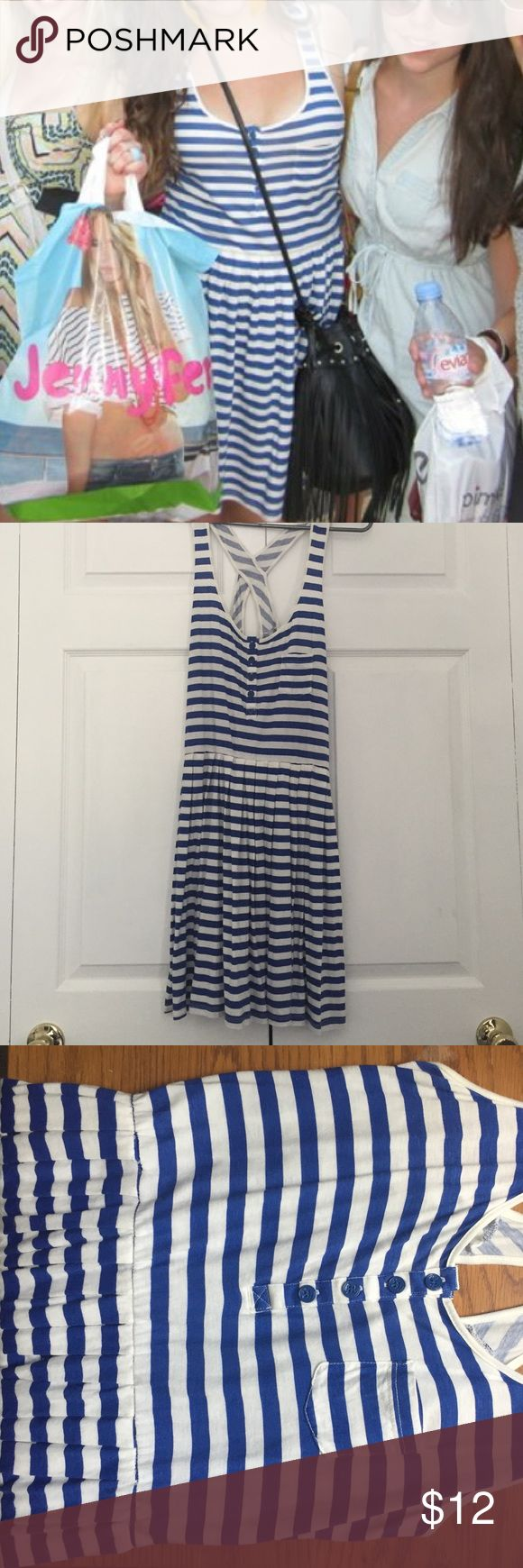 Blue and white striped sundress Super cute, lightweight sundress from Oysho. Purchased in Paris!! It's a light t-shirt material, and it hits a little above the knee. The skirt starts at the natural waist, and is pleated. The back is super cute and has a racerback with a large keyhole. Forever 21 Dresses Mini