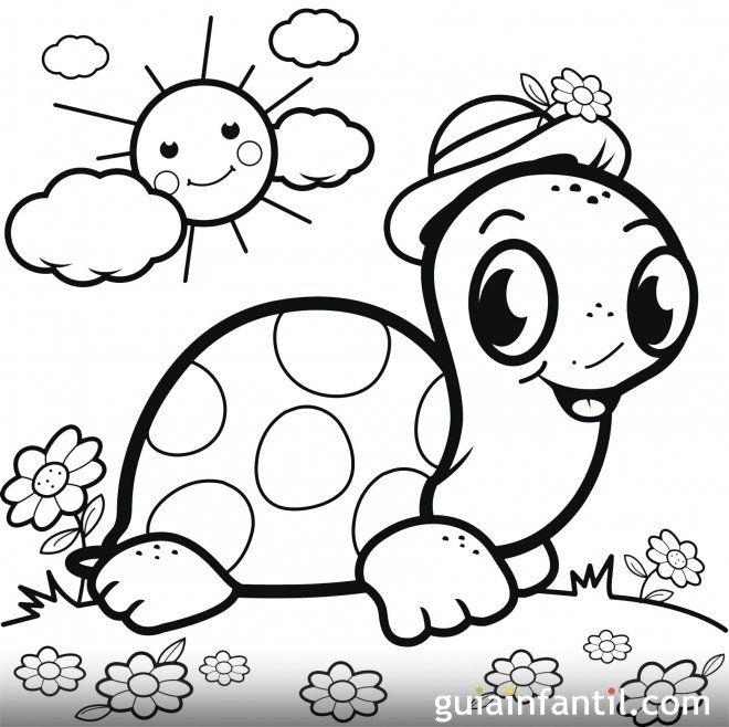 Una Tortuga Al Sol Con Su Sombrero Dibujo Para Pintar Tortuga Para Colorear Tortugas Pintadas Dibujos Bonitos Para Colorear