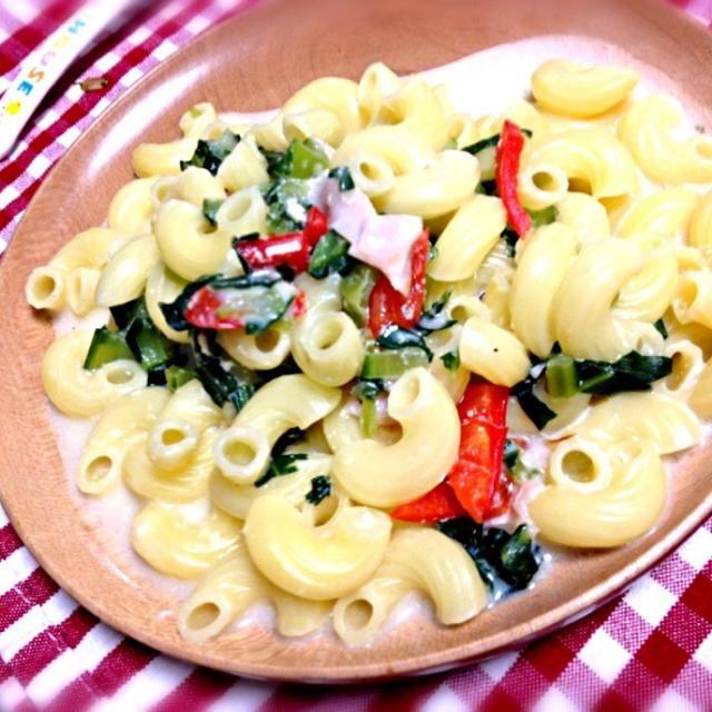 久々にりんこ飯UPしました( ´ ▽ ` )ノ お野菜とハムの豆乳パスタです。 お野菜は小松菜とパプリカ、玉ねぎでした( ̄ー ̄) - 1件のもぐもぐ - りんこ飯(^-^) by osato0926
