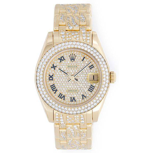Pre-Owned Rolex Pearlmaster/Masterpiece Midsize 18k Yellow Gold & Diamond Watch 81338 featuring polyvore, fashion, jewelry, watches, accessories, bracelets, acc, no color, yellow gold diamond bracelet, gold diamond watches, diamond bezel watches, pave diamond bracelet and tri color gold bracelet