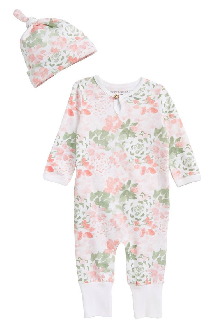 Watercolor succulents make this organic-cotton romper and hat set a pretty, comfy playtime style.
