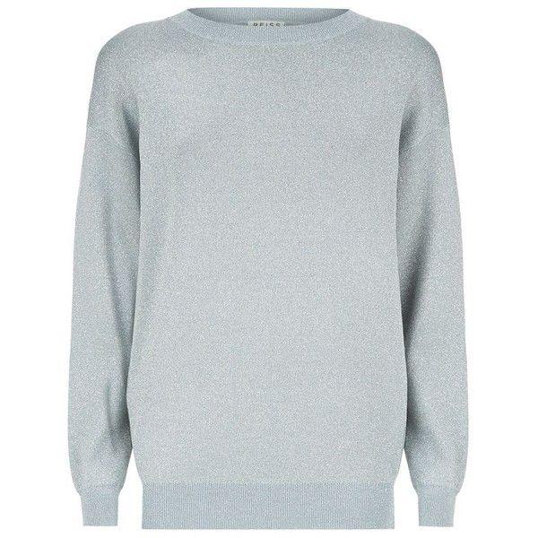 Reiss Anastasija Metallic Batwing Sweater (585 RON) ❤ liked on Polyvore featuring tops, sweaters, bat sleeve tops, batwing sweater, sparkly tops, reiss and metallic top