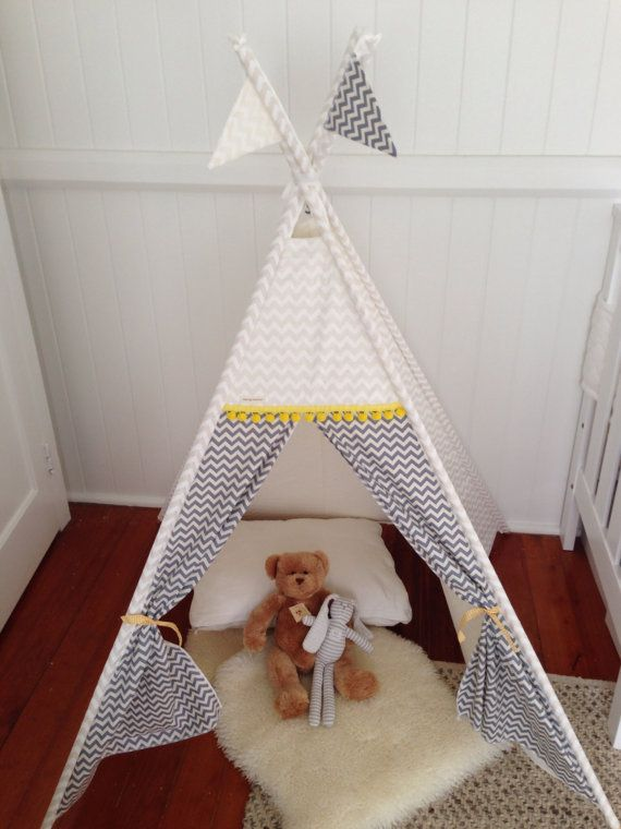 White and Grey Chevron tepee play tent. Poles by NestNFeather