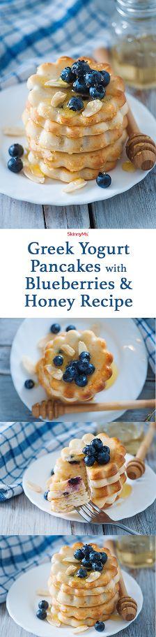 Greek Yogurt Pancakes with Blueberries & Honey