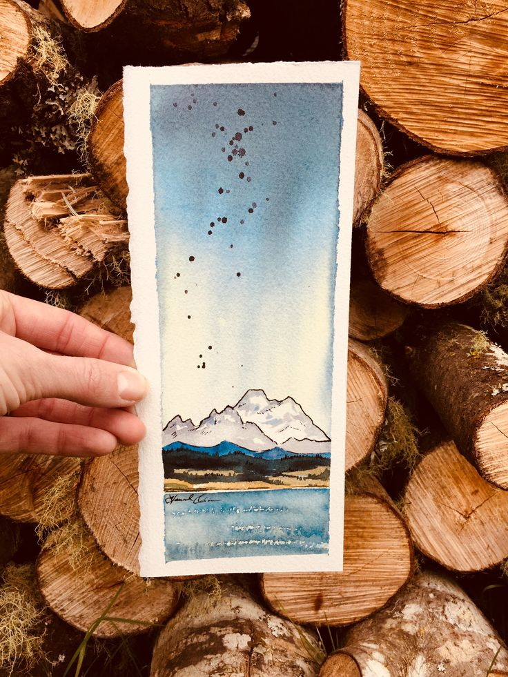Mt. Baker Watercolor and pen and ink, Coupeville Washington, Whidbey Island, Pacific Northwest art