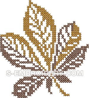 Autumn leaf cross stitch machine embroidery design #1