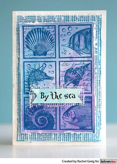 Card by Rachel Greig using Darkroom Door Seaside Squares Collage Stamp