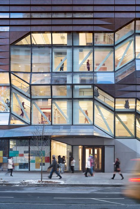 faceted concrete staircases, The New School in New York / SOM