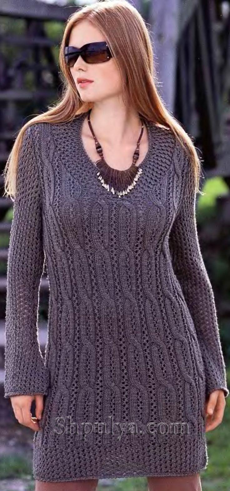Платье-пуловер с сетчатым узором, вязаное спицами