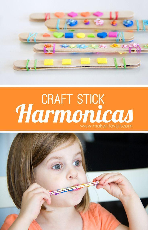 DIY Craft Stick Harmonicas - popsicle sticks, toothpick, granola bar wrapper, elastic