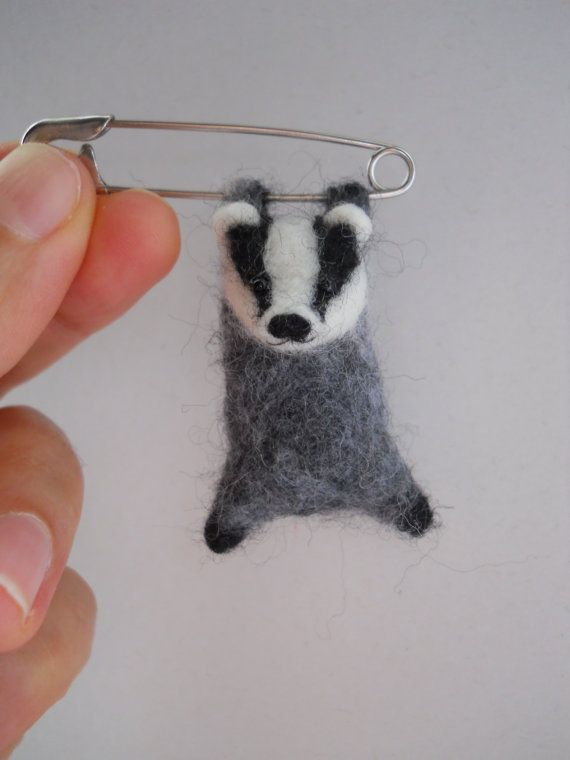 omg, this is so stinking cute: Miniature swinging hang in there badger safety by FeltCuriousShop