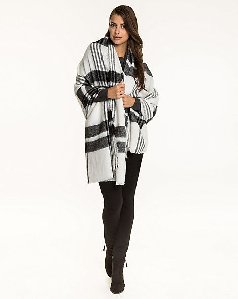 From Le Chateau: White and black Check Knit Acrylic 'Blanket' Scarf