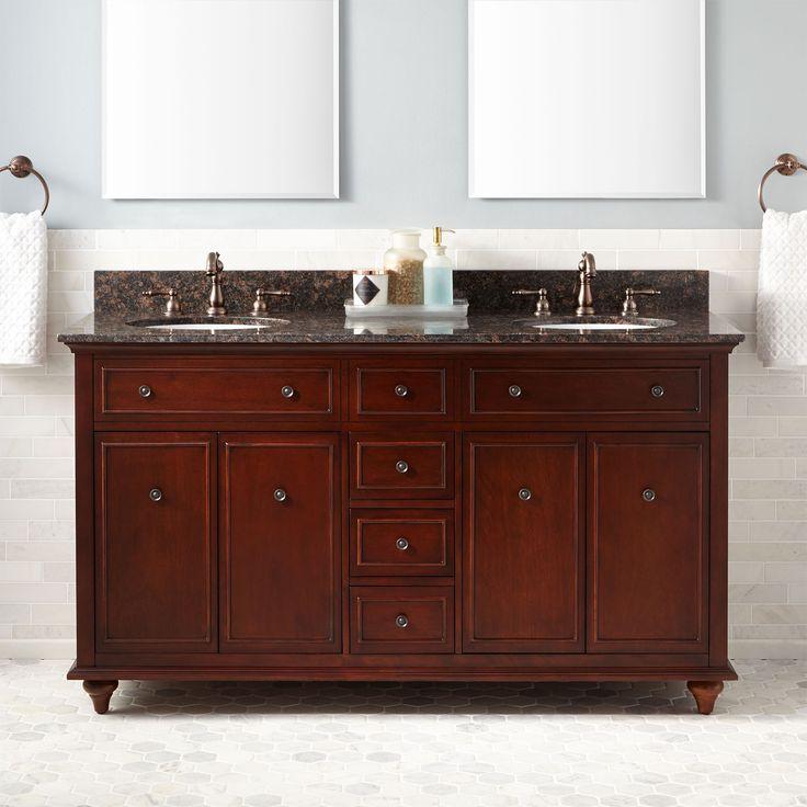 "60"" Weiss Walnut Double Vanity for Undermount Sinks"