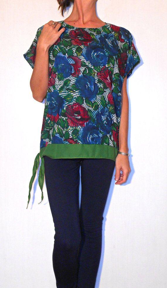 #tunic #shirt #jungle #rosesHandmade shirt tunic blouse cotton roses blue fuchsia by ITINLab https://www.etsy.com/listing/204941573/handmade-shirt-tunic-blouse-cotton-roses