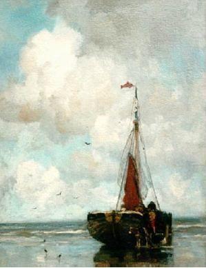 Jacobus Hendricus (Jacob) Maris (1837 - 1899). Bomschuit op het strand. (Coll. Simonis&Buunk, Ede)