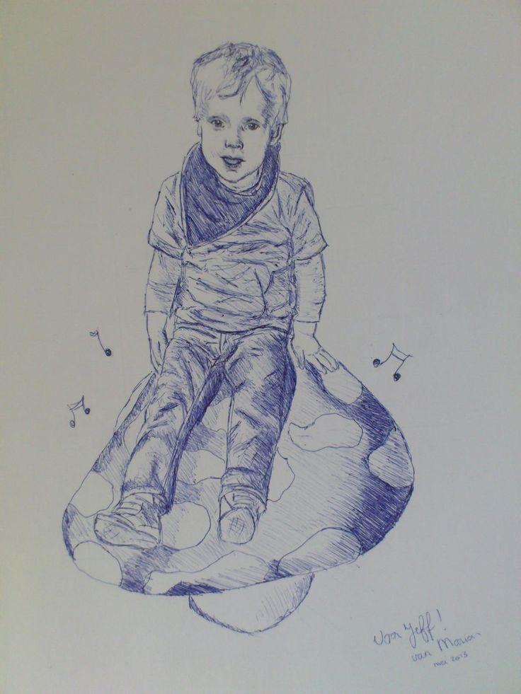 Jeff, balpen op papier. Getekend door Marian Plomp