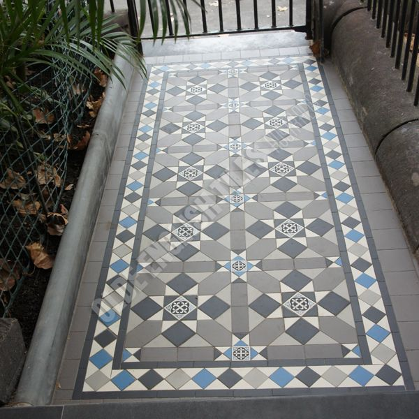 Tessellated Tile Entry Path| Olde English Tiles Australia using reproduction tiles.