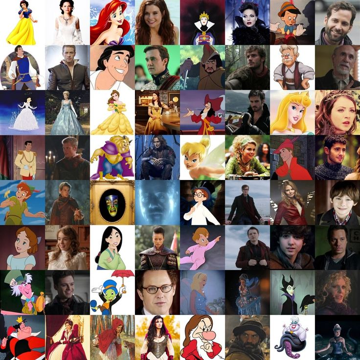 Once Upon A Time characters with their Disney halves