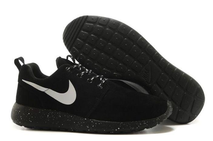 Nike Roshe Run Mens Shoes Fur Waterproof All Black Silver New