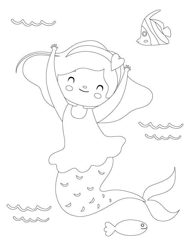 Easy Mermaid Coloring Pages : mermaid, coloring, pages, Printable, Mermaid, Coloring, Pages, Pages,, Coloring,