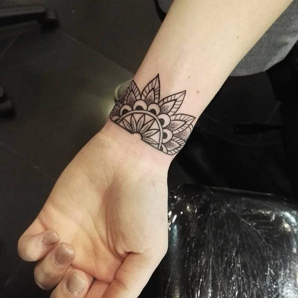 Flower Design On The Wrist Henna Tattoo: Mandala, Wrist Tattoo On TattooChief.com