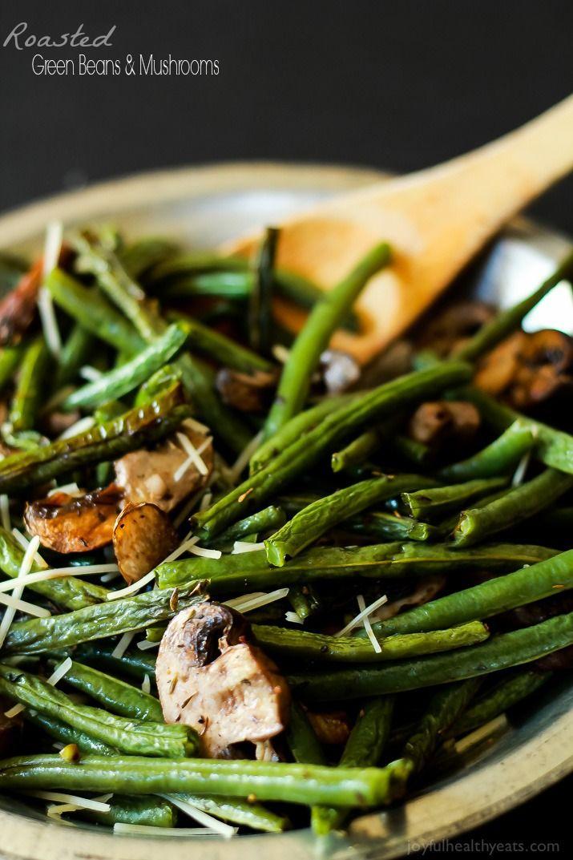 A much healthier version of Green Bean Casserole, fresh green beans & mushrooms mixed with thyme and lemon juice.   www.joyfulhealthyeats.com