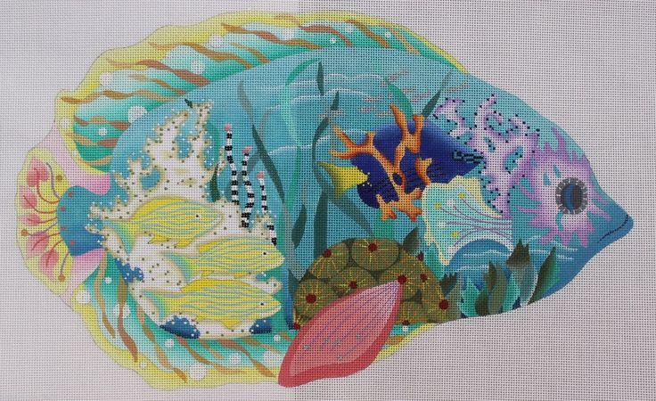 Dede Ogden Glass Aquarium Blue Fish Tropical ED18034 HP Needlepoint Canvas | eBay