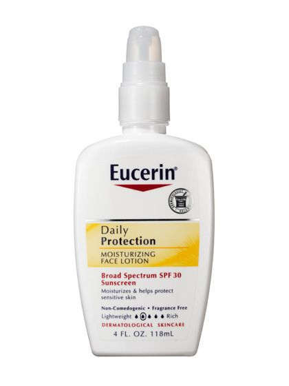 A must-have for dry skin: Eucerin Daily Protection Moisturizing Face Lotion is a fragrance-free lotion that disappears on contact, so you're left with just a quenched, smooth canvas.