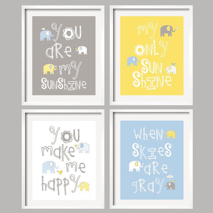 Nursery Quad Blue And Grey Elephant Art Set Of 4 Prints Baby Gray Yellow Decor Choose Your Colors 059