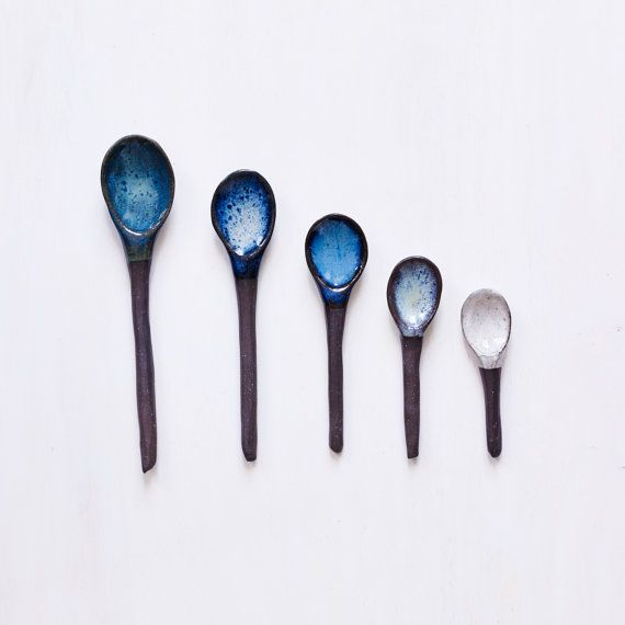Handmade Custom Ceramic Spoons in Dark Brown Clay Glazed Buyer's Choice