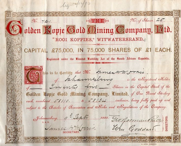Golden Kopje Gold Mining Company Ltd 1889