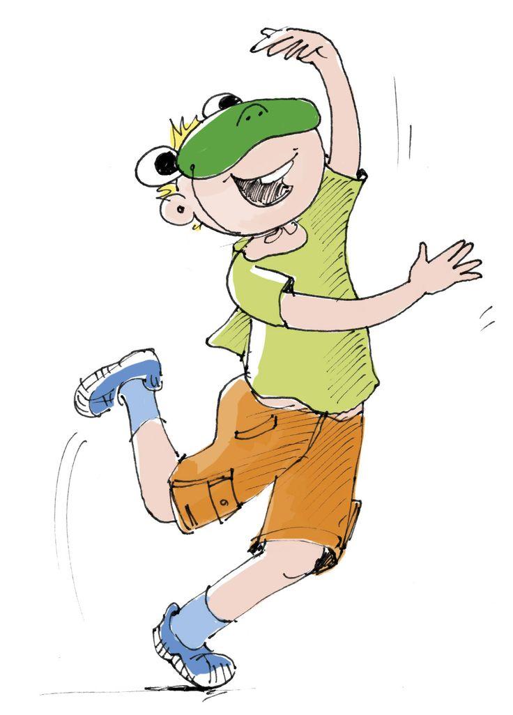 Tanzender, hüpfender Junge